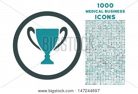 Award Cup rounded vector bicolor icon with 1000 medical business icons. Set style is flat pictograms, soft blue colors, white background.