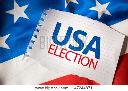 USA Election on notepaper and the US flag