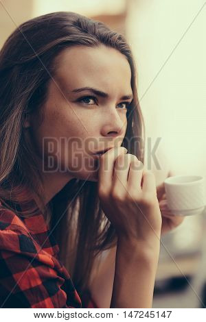 Pretty Girl Drinks Coffee