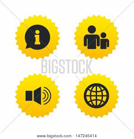 Information sign. Group of people and speaker volume symbols. Internet globe sign. Communication icons. Yellow stars labels with flat icons. Vector