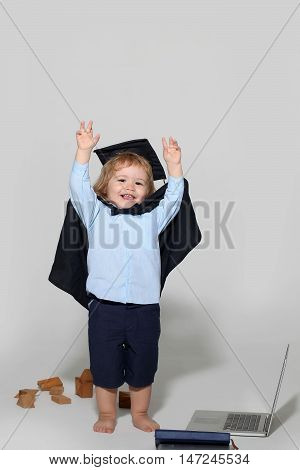 Education Boy With Wooden Blocks Isolated