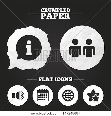 Crumpled paper speech bubble. Information sign. Group of people and speaker volume symbols. Internet globe sign. Communication icons. Paper button. Vector