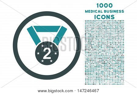 Second Medal rounded vector bicolor icon with 1000 medical business icons. Set style is flat pictograms, soft blue colors, white background.