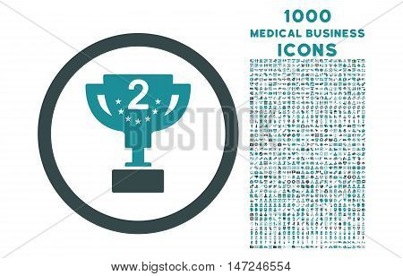Second Prize rounded vector bicolor icon with 1000 medical business icons. Set style is flat pictograms, soft blue colors, white background.