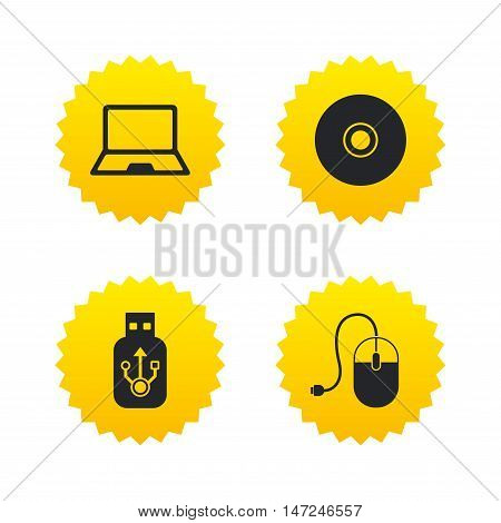 Notebook pc and Usb flash drive stick icons. Computer mouse and CD or DVD sign symbols. Yellow stars labels with flat icons. Vector