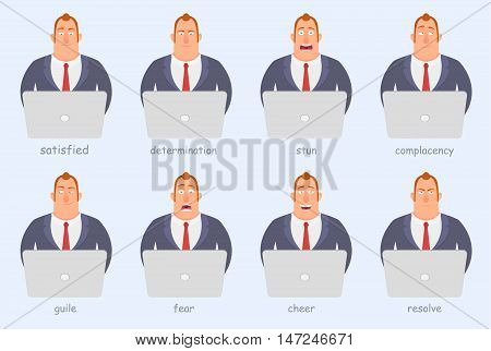 Funny cartoon character. Office workers of different emotions anger joy seriousness fear fun EPS 10