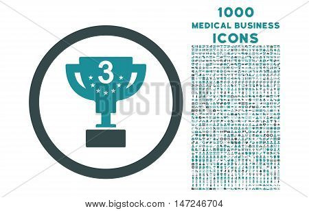 Third Prize rounded vector bicolor icon with 1000 medical business icons. Set style is flat pictograms, soft blue colors, white background.