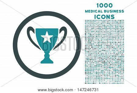 Trophy Cup rounded vector bicolor icon with 1000 medical business icons. Set style is flat pictograms, soft blue colors, white background.