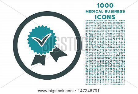 Validation Seal rounded vector bicolor icon with 1000 medical business icons. Set style is flat pictograms, soft blue colors, white background.