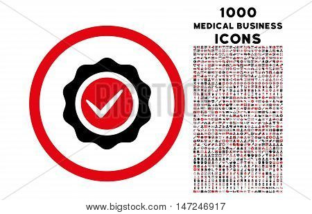 Valid rounded vector bicolor icon with 1000 medical business icons. Set style is flat pictograms, intensive red and black colors, white background.
