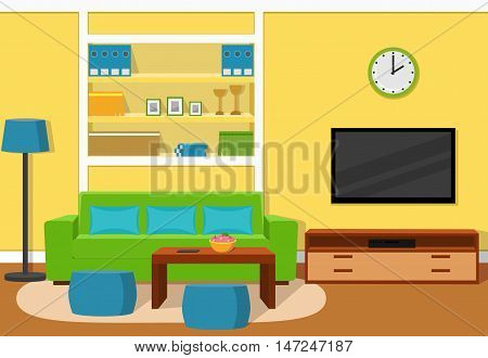 The interior of cozy living room with green sofa turquoise accents and yellow wallpaper. Vector illustration.
