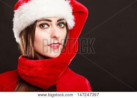 Woman Wearing Santa Helper Hat Portrait