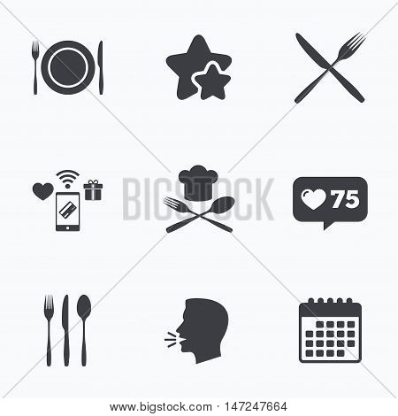 Plate dish with forks and knifes icons. Chief hat sign. Crosswise cutlery symbol. Dining etiquette. Flat talking head, calendar icons. Stars, like counter icons. Vector