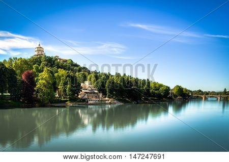 Landscape with river Po and back whit Church S. Maria del Monte and Monte dei Cappuccini Turin Italy