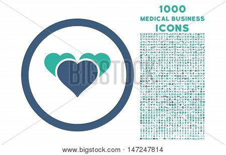 Heart Favourites rounded vector bicolor icon with 1000 medical business icons. Set style is flat pictograms, cobalt and cyan colors, white background.