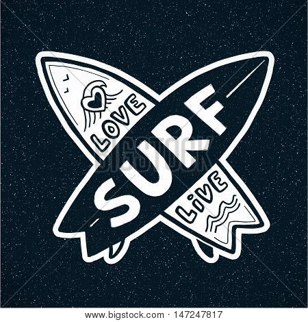 White grunge crossing vector surfing boards with hand drawn sign Love, Live, SURF on dark blue background