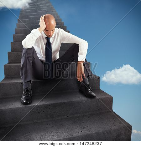 3D Rendering thoughtful businessman sitting on the steps of an infinite scale