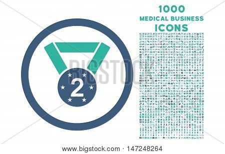 Second Medal rounded vector bicolor icon with 1000 medical business icons. Set style is flat pictograms, cobalt and cyan colors, white background.