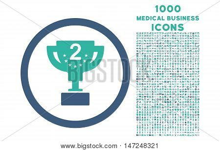Second Prize rounded vector bicolor icon with 1000 medical business icons. Set style is flat pictograms, cobalt and cyan colors, white background.