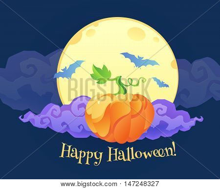 Bright orange pumpkin with violet curly cloud blue bats silhouettes and Happy Halloween sign on yellow moon at dark blue background
