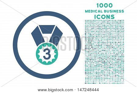 Third Place rounded vector bicolor icon with 1000 medical business icons. Set style is flat pictograms, cobalt and cyan colors, white background.