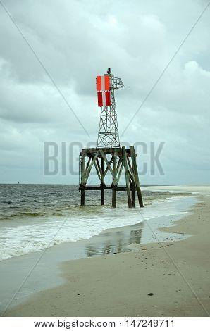 Maritime navigational beacon with orange indicators sitting along Florida's East Coast