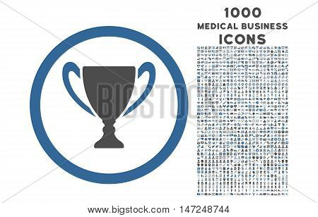 Award Cup rounded vector bicolor icon with 1000 medical business icons. Set style is flat pictograms, cobalt and gray colors, white background.