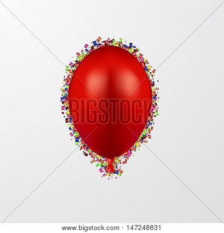 Vector modern ballon with confetti on white background