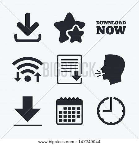 Download now icon. Upload file document symbol. Receive data from a remote storage signs. Wifi internet, favorite stars, calendar and clock. Talking head. Vector