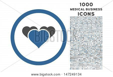 Heart Favourites rounded vector bicolor icon with 1000 medical business icons. Set style is flat pictograms, cobalt and gray colors, white background.