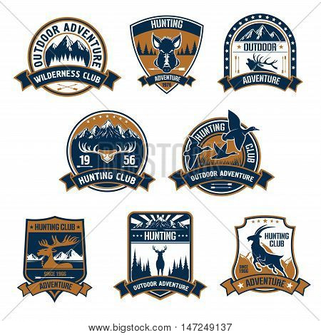 Hunting club shield icons set. Vector hunt sports emblems and labels with animals, boar, deer, duck, elk, antlers, mountain-goat, arrows, forest for hunter badge, t-shirt, outfit