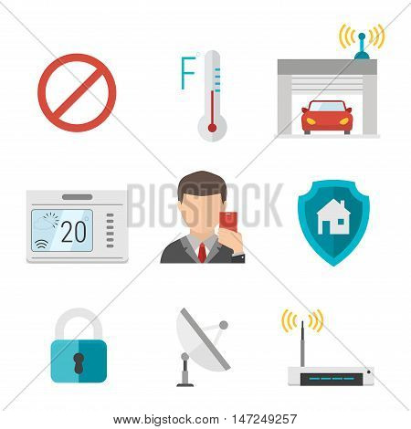 Remote home control system Smart House vector illustration icons. Remote control smart home concept. Smart House vector icons abstract technology vector icons set. Technology symbols