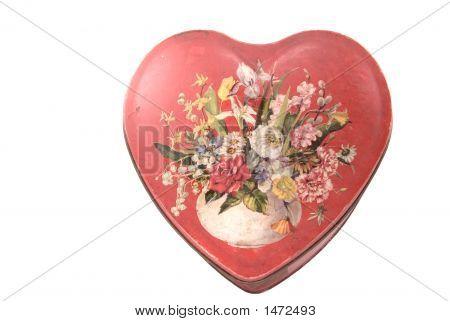 Antique Valentine Heart Tin Candy Box