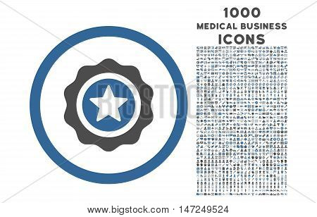 Reward Seal rounded vector bicolor icon with 1000 medical business icons. Set style is flat pictograms, cobalt and gray colors, white background.