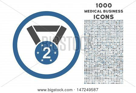 Second Medal rounded vector bicolor icon with 1000 medical business icons. Set style is flat pictograms, cobalt and gray colors, white background.