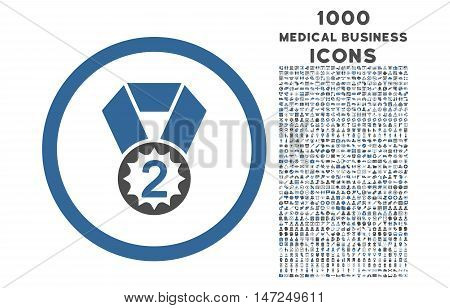 Second Place rounded vector bicolor icon with 1000 medical business icons. Set style is flat pictograms, cobalt and gray colors, white background.