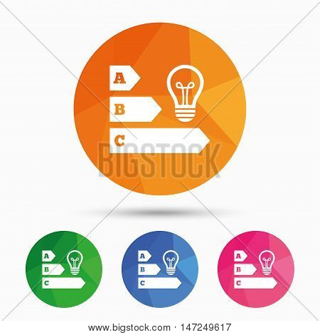 Energy efficiency sign icon. Idea lamp bulb symbol. Triangular low poly button with flat icon. Vector