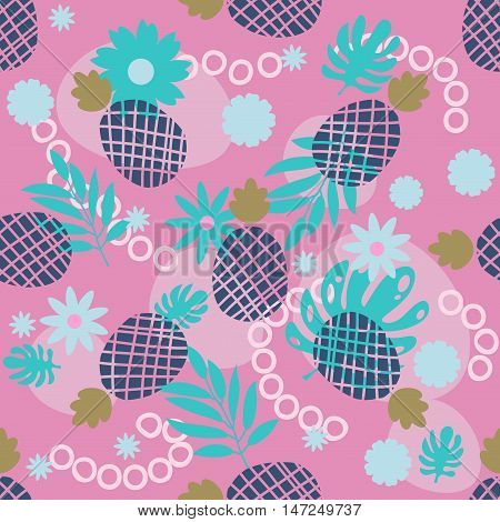 Cute pineapple and tropical leaves seamless pattern. Festive colorful summer fruit random background. Blue turquoise pink. Spotted abstract seamless pattern. Vector illustration.