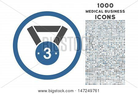 Third Medal rounded vector bicolor icon with 1000 medical business icons. Set style is flat pictograms, cobalt and gray colors, white background.