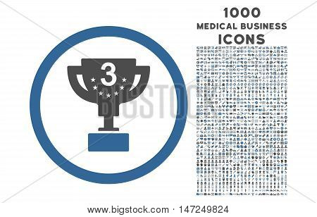 Third Prize rounded vector bicolor icon with 1000 medical business icons. Set style is flat pictograms, cobalt and gray colors, white background.