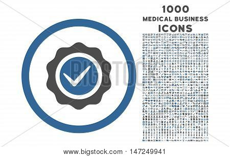 Valid rounded vector bicolor icon with 1000 medical business icons. Set style is flat pictograms, cobalt and gray colors, white background.