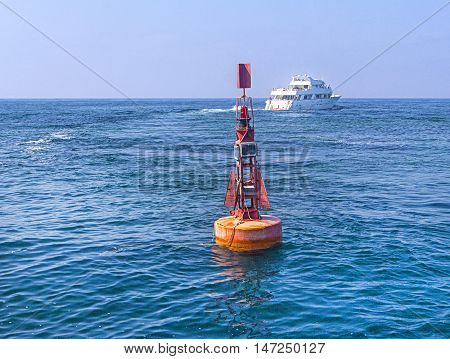 Red Navigational Buoy in the Mediterranean Sea