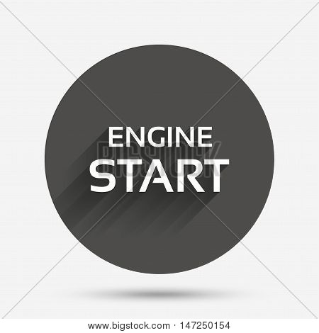 Start engine sign icon. Power button. Circle flat button with shadow. Vector