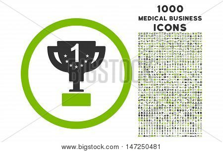 First Prize Cup rounded vector bicolor icon with 1000 medical business icons. Set style is flat pictograms, eco green and gray colors, white background.