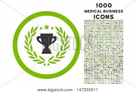 Glory rounded vector bicolor icon with 1000 medical business icons. Set style is flat pictograms, eco green and gray colors, white background.