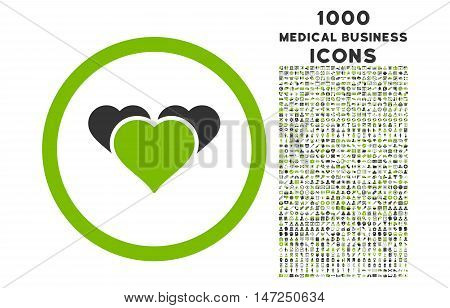 Heart Favourites rounded vector bicolor icon with 1000 medical business icons. Set style is flat pictograms, eco green and gray colors, white background.
