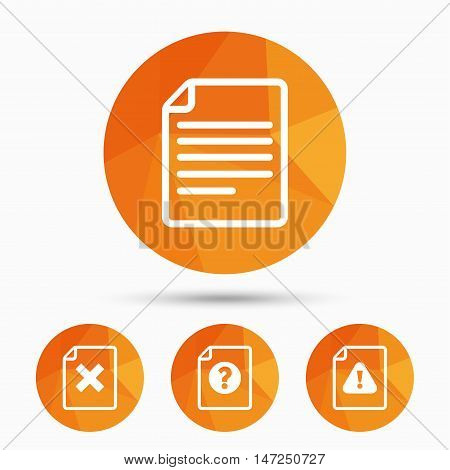 File attention icons. Document delete symbols. Question mark sign. Triangular low poly buttons with shadow. Vector