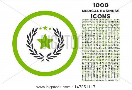 Proud Emblem rounded vector bicolor icon with 1000 medical business icons. Set style is flat pictograms, eco green and gray colors, white background.