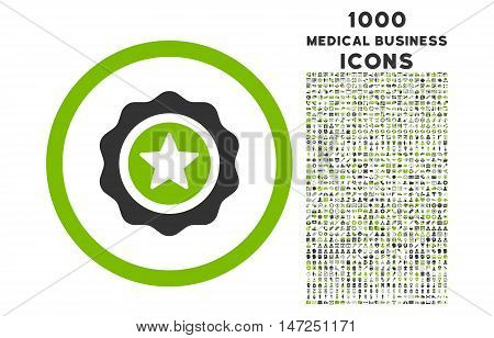 Reward Seal rounded vector bicolor icon with 1000 medical business icons. Set style is flat pictograms, eco green and gray colors, white background.