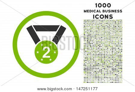 Second Medal rounded vector bicolor icon with 1000 medical business icons. Set style is flat pictograms, eco green and gray colors, white background.